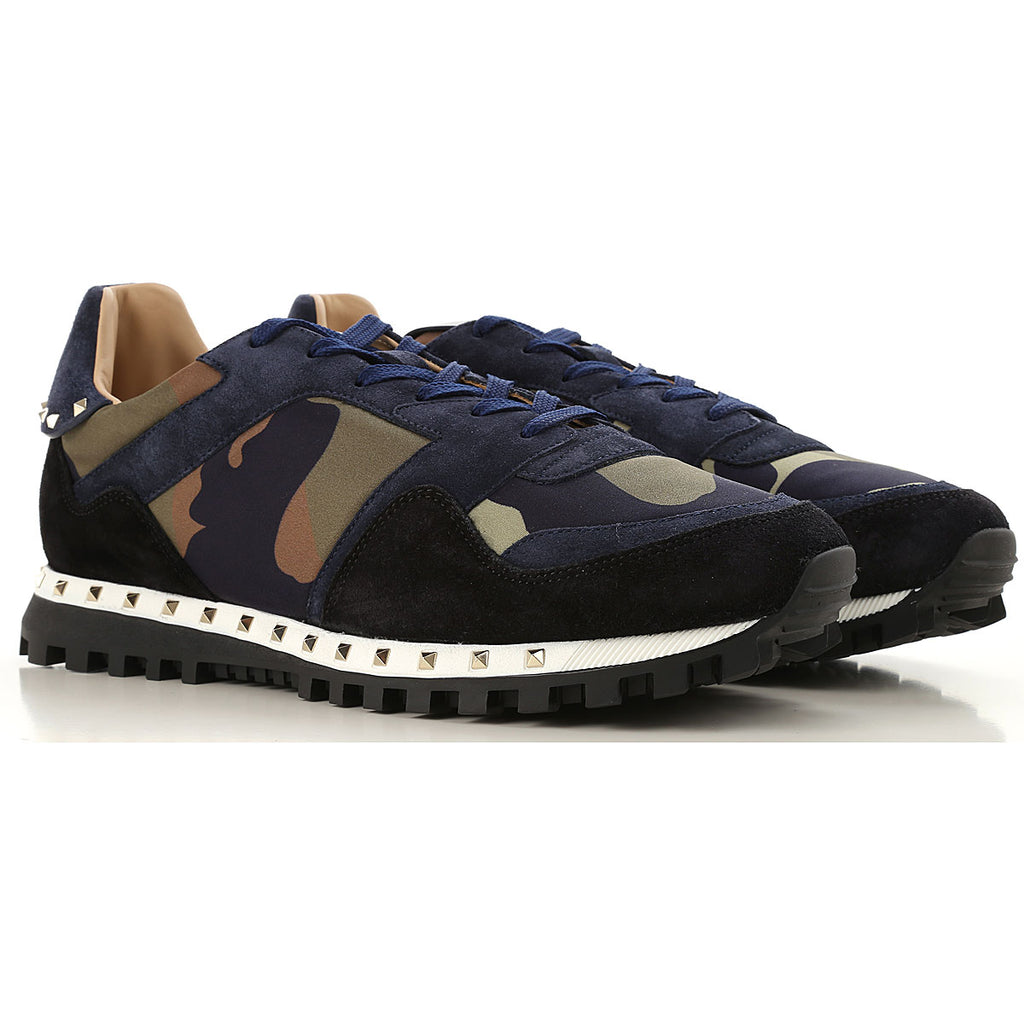 Valentino Garavani camouflage sneakers Lacxe Up Navy Suede Studded Trainers