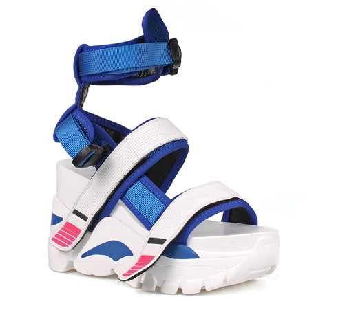 Anthony Wang Oval-05 high Platform Wedge Fashion Open Toe Sneaker Sandals White