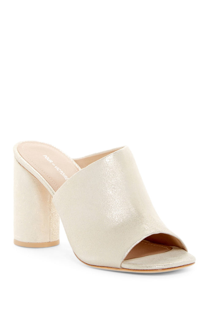 Pour La Victoire Helena Slide On Wrapped Heel Leather Champagne