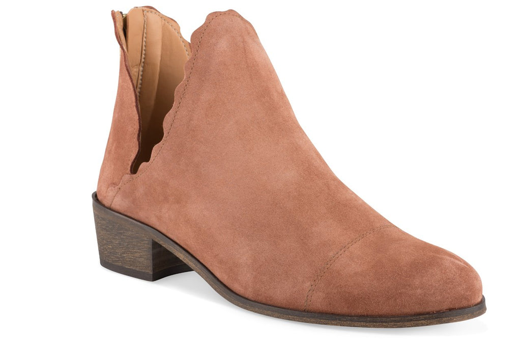 Klub Nico Bae Scallop Bootie-Terracotta Nude Low Cut our Fashion Ankle Bootie