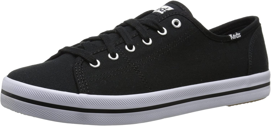 Keds Women's Kickstart Fashion Sneaker Black Canvas Lace Up Fashion Tennis Shoes