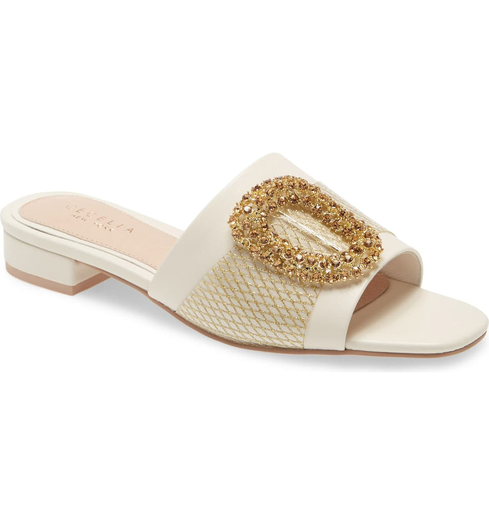 Cecelia New York MAUI Slide Sandal Alabaster White Leather Embellished Flat Mule