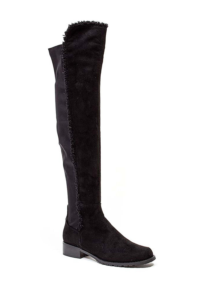 French Blu Black Suede Park Ave Flat Boot Fur Trim Fitted Strect Boot