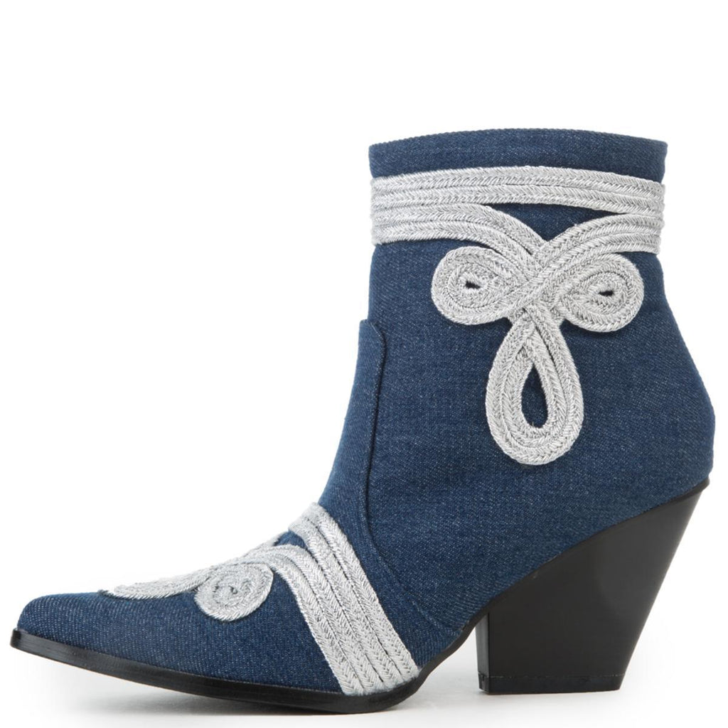 Cape Robbin Kelsey-20 Denim Blue White Trim Pointed Toe Western Ankle Bootie
