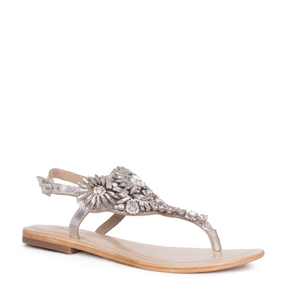 Lauren Lorraine Vera Silver Flat Thong Leather Rhinestone Crystalized Sandals