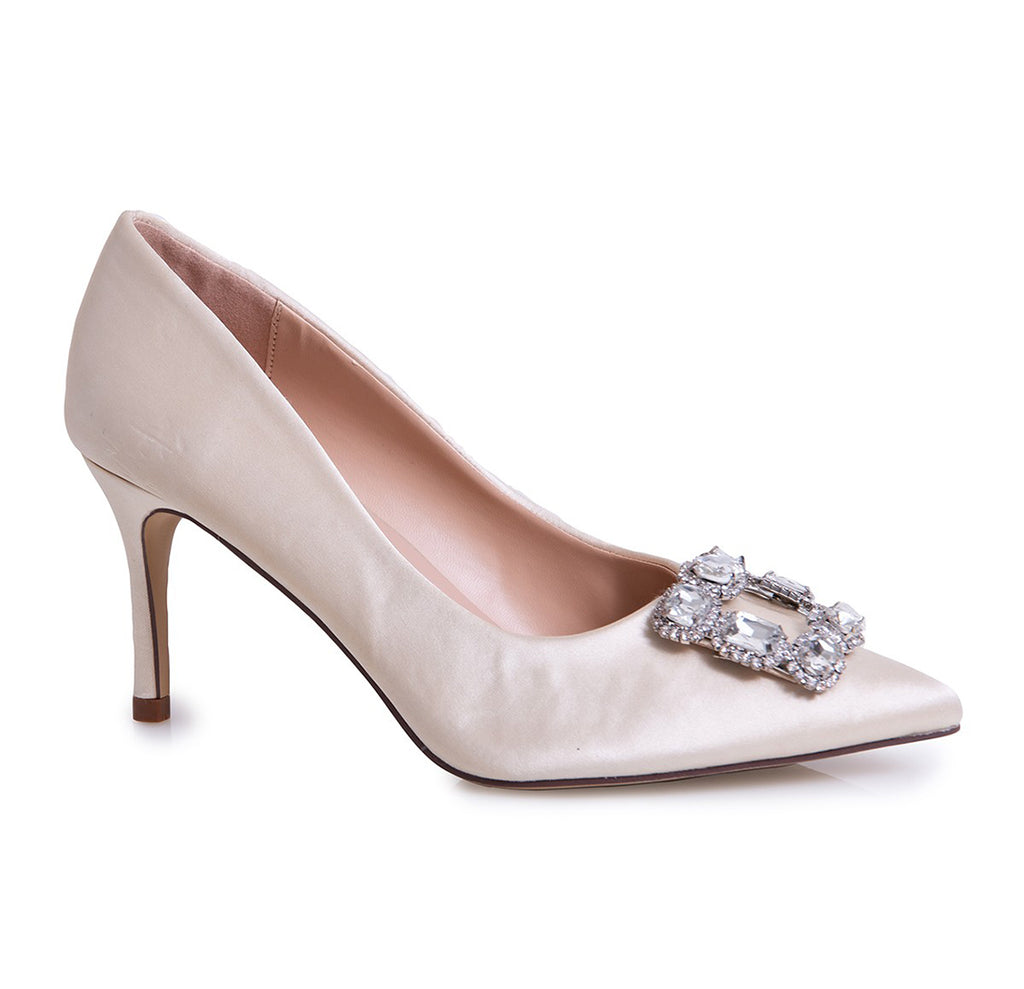 Lauren Lorraine Carolyn Ivory Jewel Embellished Vamp Pointy Toe Pump