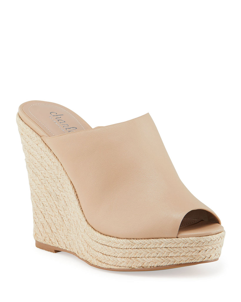 Charles David Andes Leather Wedge Espadrilles Nude Leather Platform Mule