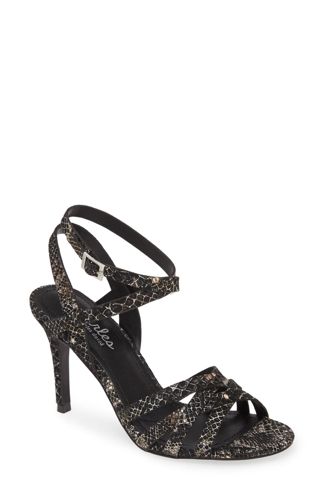 Charles David Hippy Metallic Cocktail Sandals BLACK MULTI Open toe Dainty Pumps