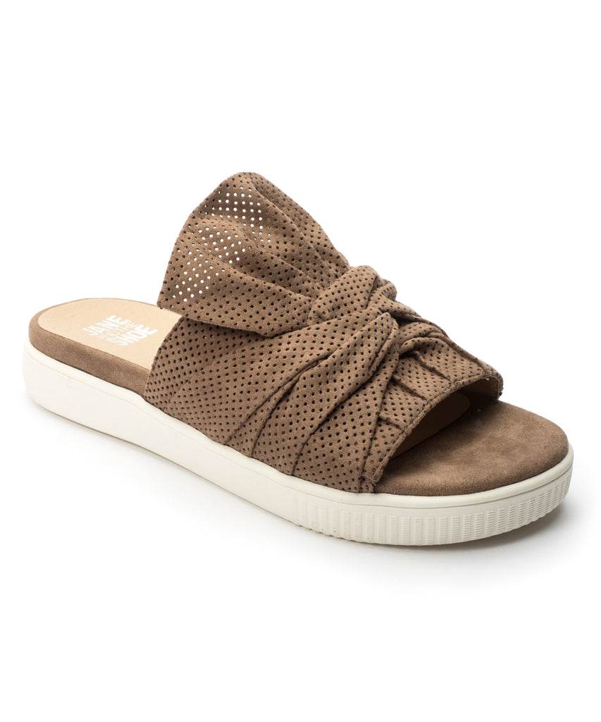 Jane and the Shoe JESSICA Bow Slide Sandal Suede Taupe Mule