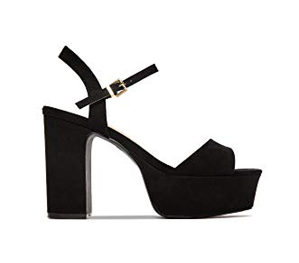 Shoe Republic Sheena Black Vegan Suede Open Toe Chunky Heel Platform Sandals