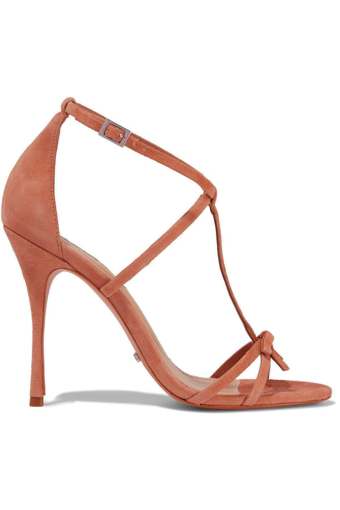 Schutz Women's Sabina Toasted Nut Brown Bow-embellished High heel Suede Sandals