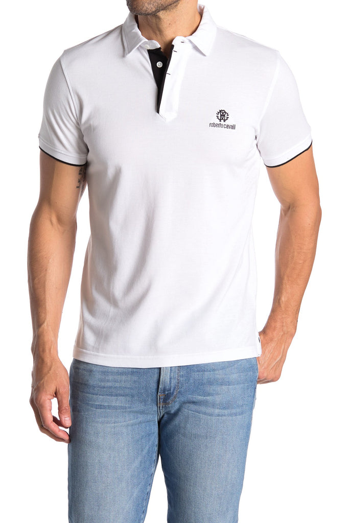 Roberto Cavalli Contrast Trim Short Sleeve Polo BIANCO FSR687JD06400001