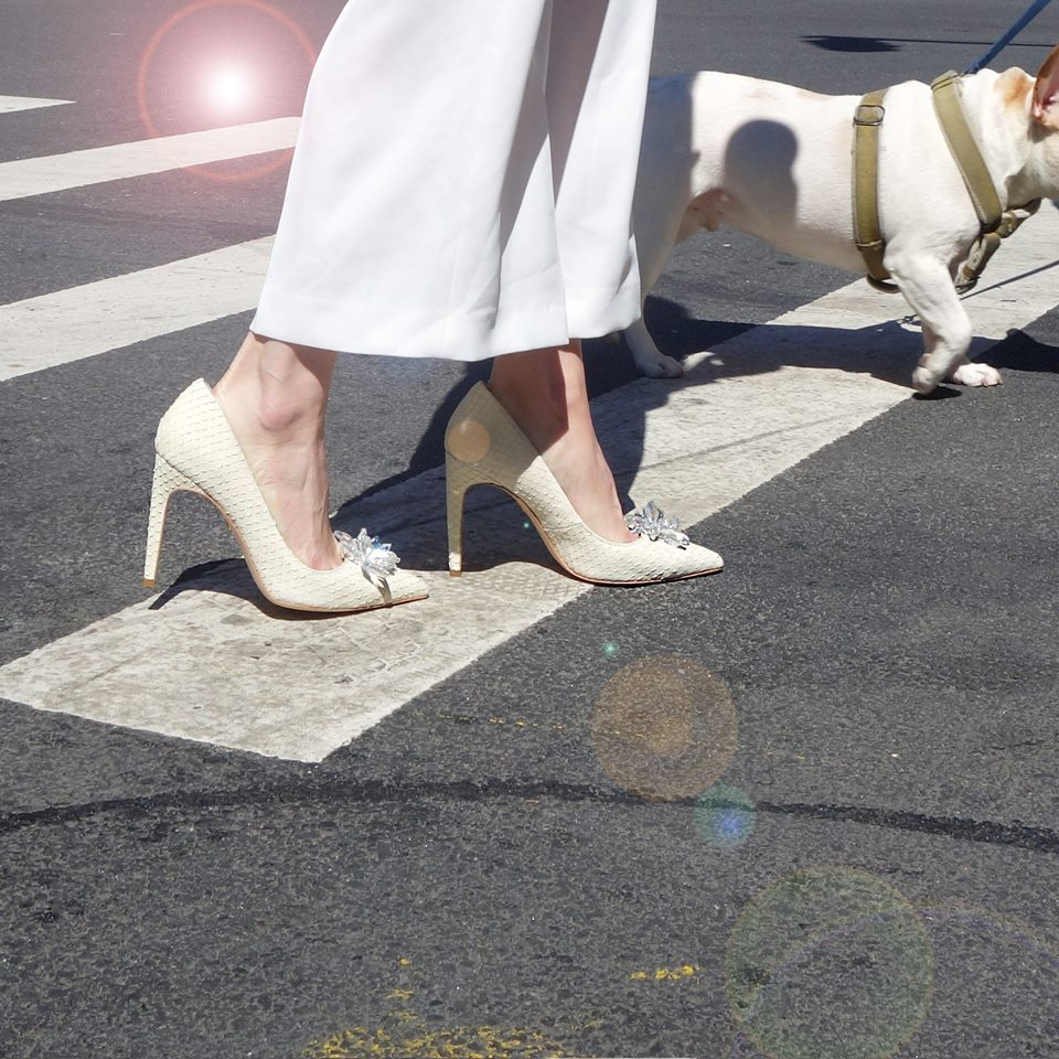 Cecelia New York Ellie Snake Embossed Pump White Leather Jeweled Pumps