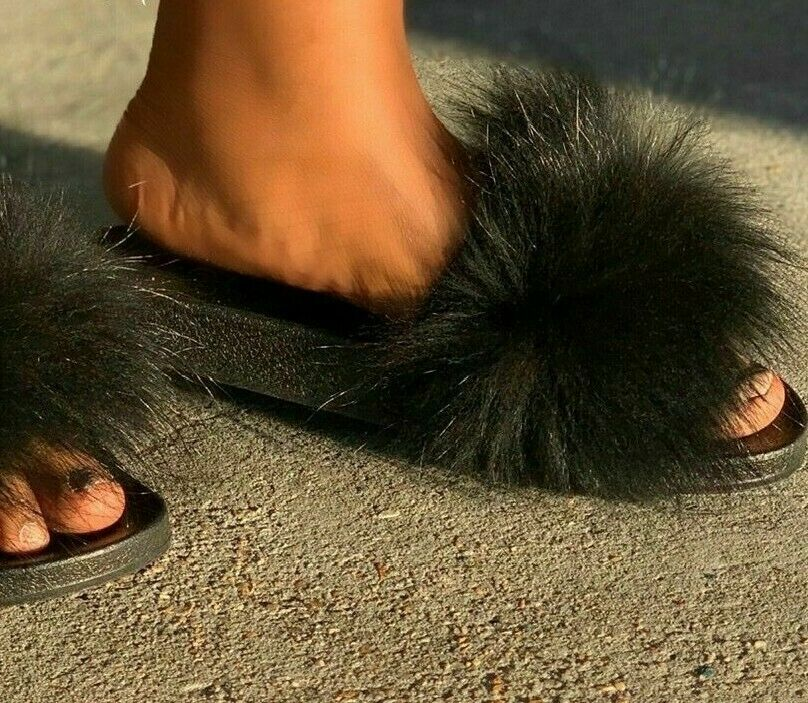 Liliana Nomi-17 Black Real Raccon Fur Slippers Slip On Slides Flat Mule