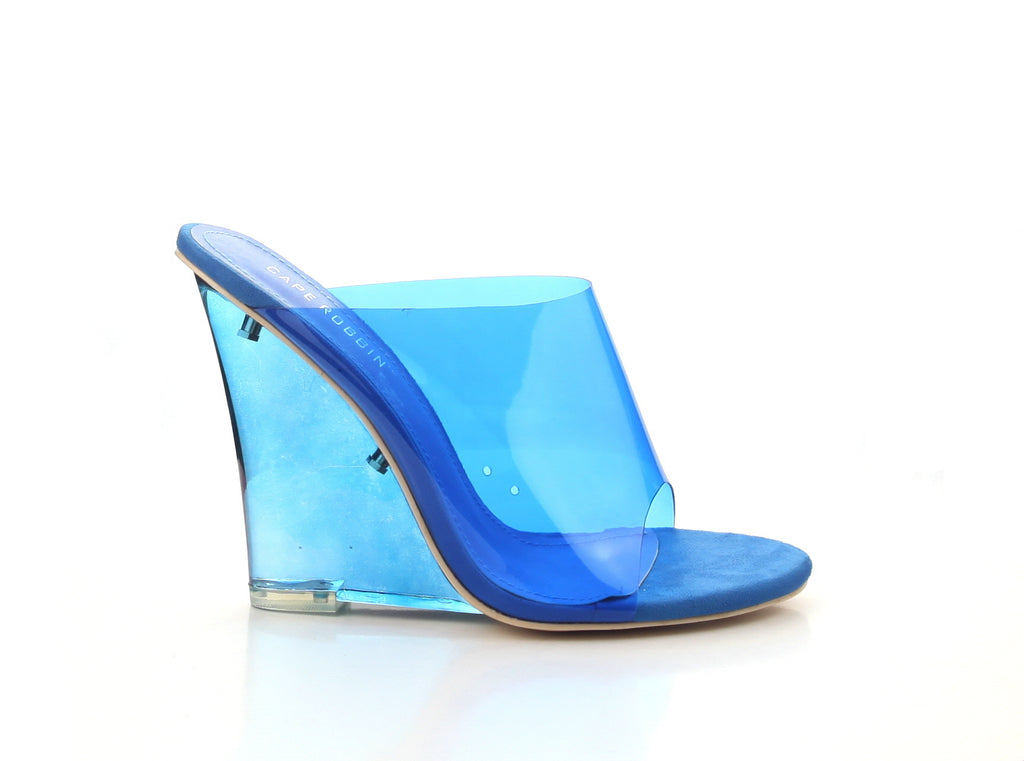 Michelle Parker Cape Robbin Jelly Drop Blue Transparent Glass Wedge Mule Pumps