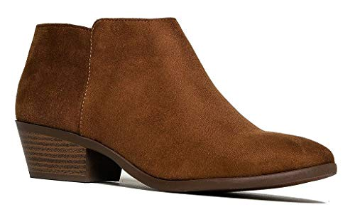 Soda Western Ankle Boot- Cowgirl Low Heel Closed Toe Casual Bootie, Cognac