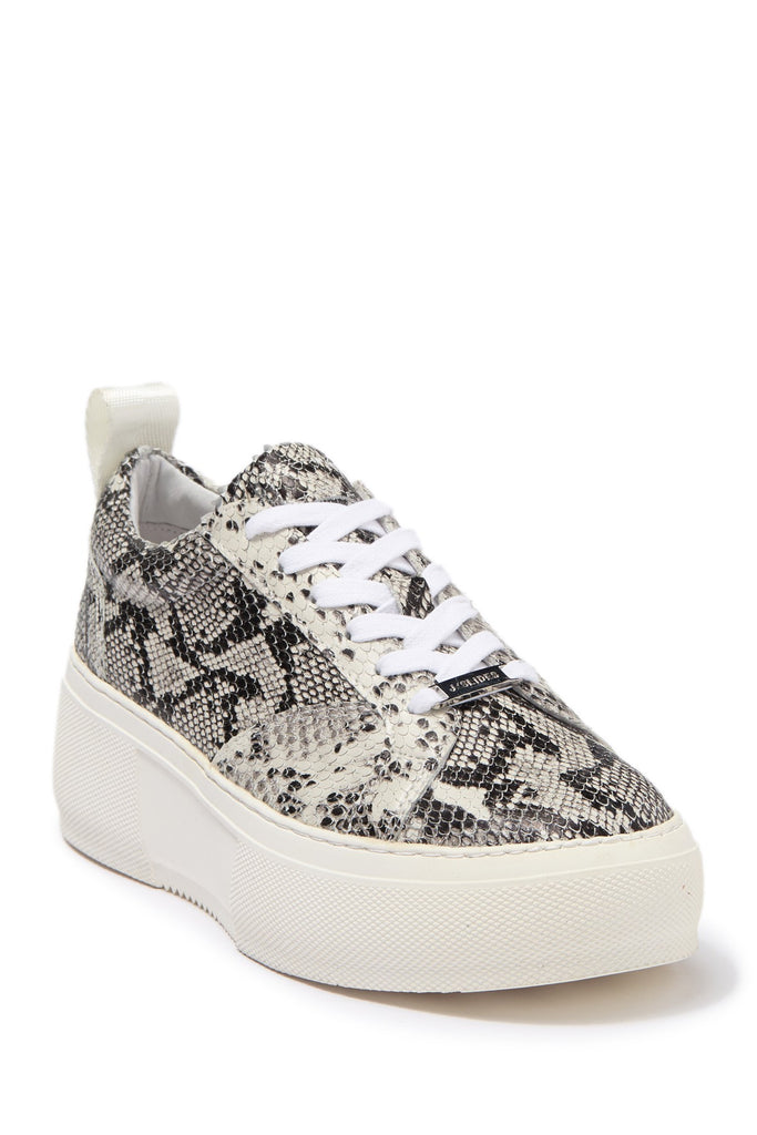 JSlides COURTO Lace-up Round toe Platform Sneaker, OFF WHT/BLK Snake