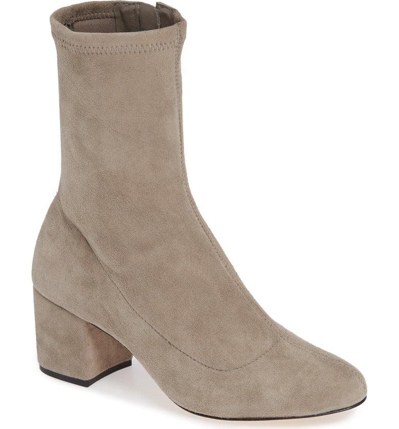 Schutz Mouse Suede Block Heel Ankle Booties Edgy City Boots
