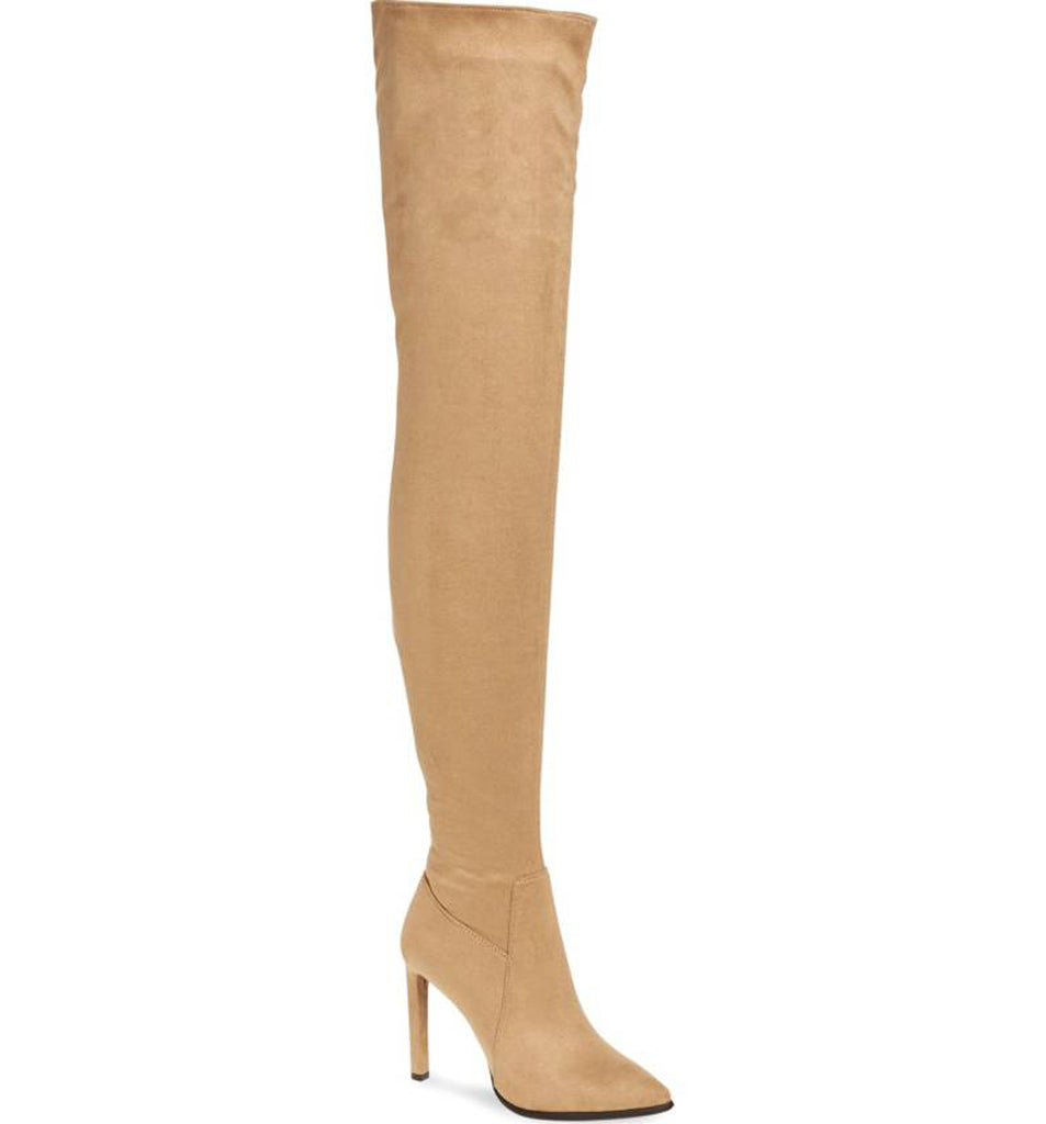 Jeffrey Campbell Sherise Beige Taupe Suede Thigh High Pointed Stiletto Boot
