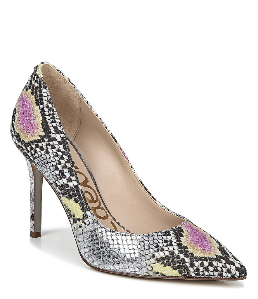 Sam Edelman Hazel Dress Pump Lilac Yellow Snake Leather High Heel Pointed Toe