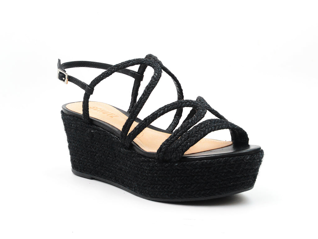 Schutz Black Wrapped Wedged Platform Heeled Strappy Comfortable Strappy Sandals