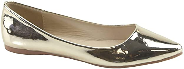 Bella Marie Angie Women's Rose gold Classic Pointy Toe Ballet Flat Shoes (7, Rose gld-18)