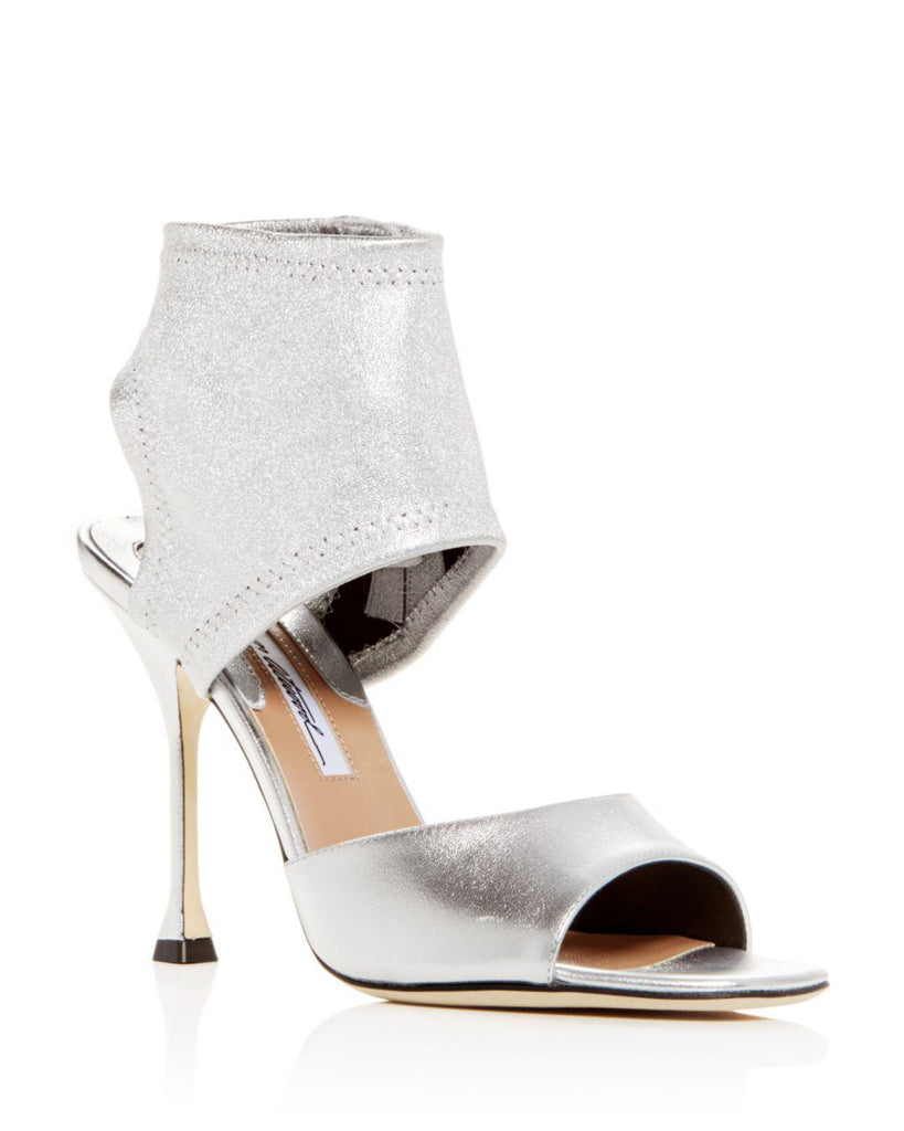 Brian Atwood STELLA Pumps Silver Leather Open Toe Bootie High Heel Sandal