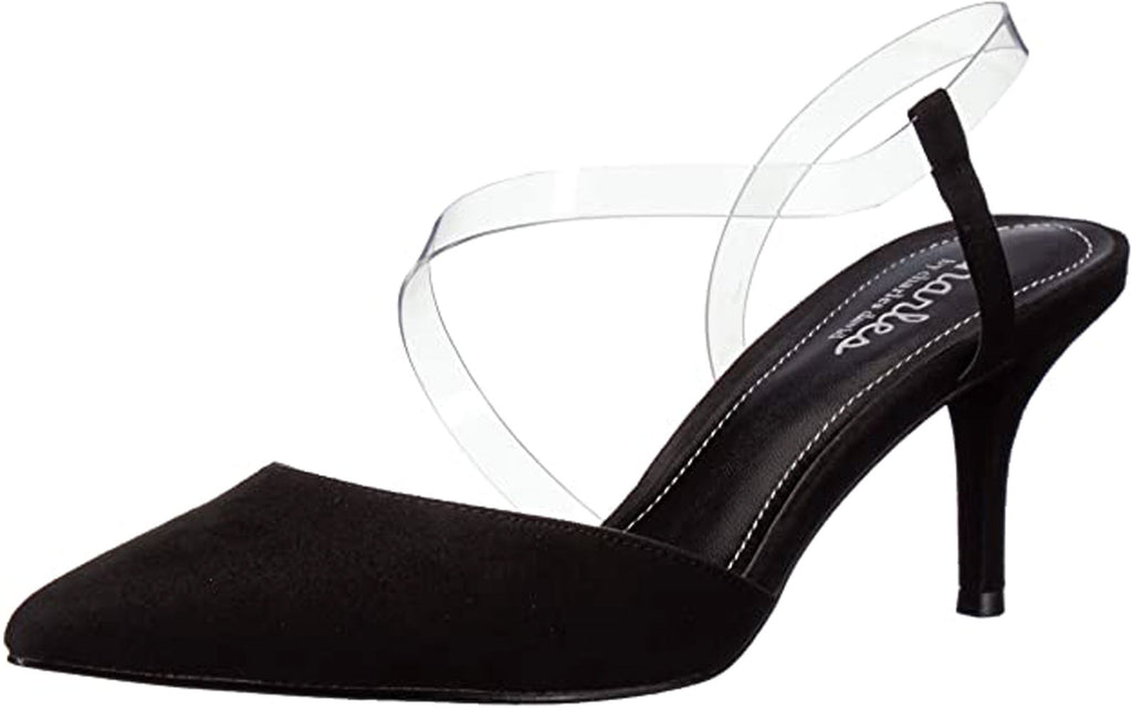 Charles David Alda Black Suede Clear Strap Mid Heel Pumps