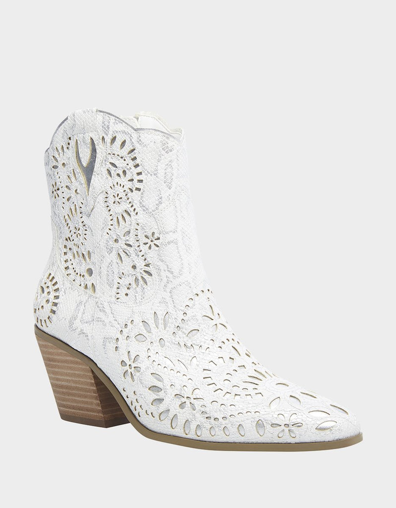 Betsey Johnson Mozart Mid-Calf Western Boot White Leather Cowboy Booties