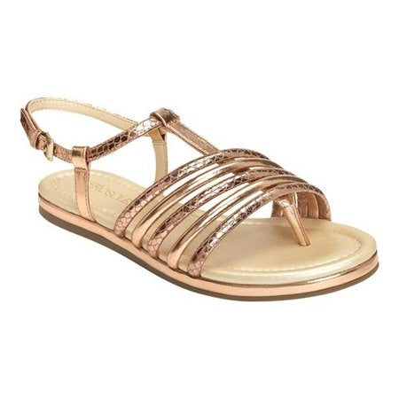 Aerosoles Women's Droplet Pink Metallic Strappy Flat Sandal