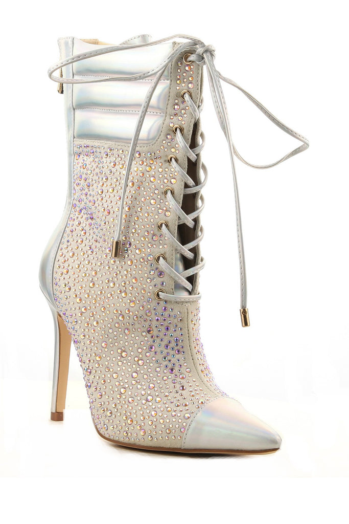 Cape Robbin Cruise Hologram Silver Crystals High Heel Pointed Toe Lace Up Bootie