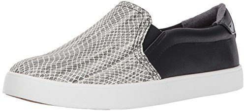 Dr. Scholl's Women's Madison Sneaker Slip On Black/White Snake Print
