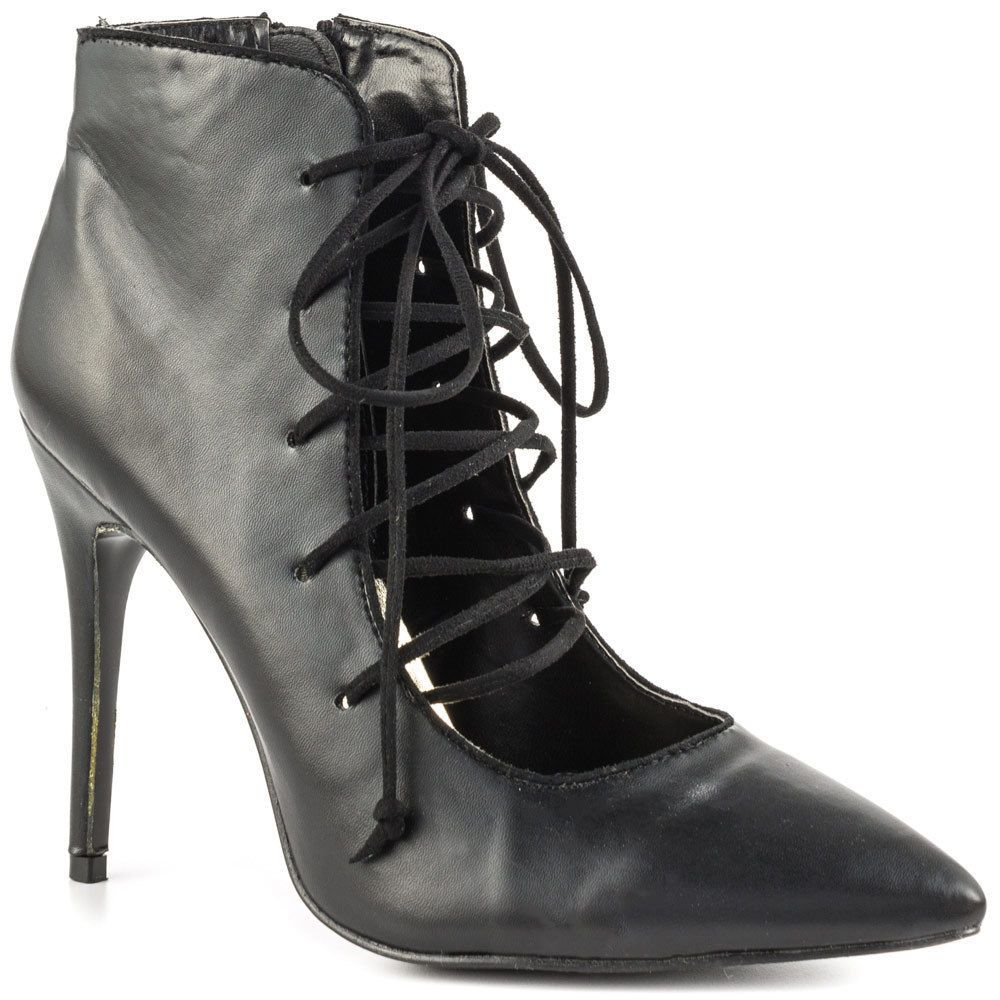 Lust For Life Ego Black Leather Stiletto Ankle Pump