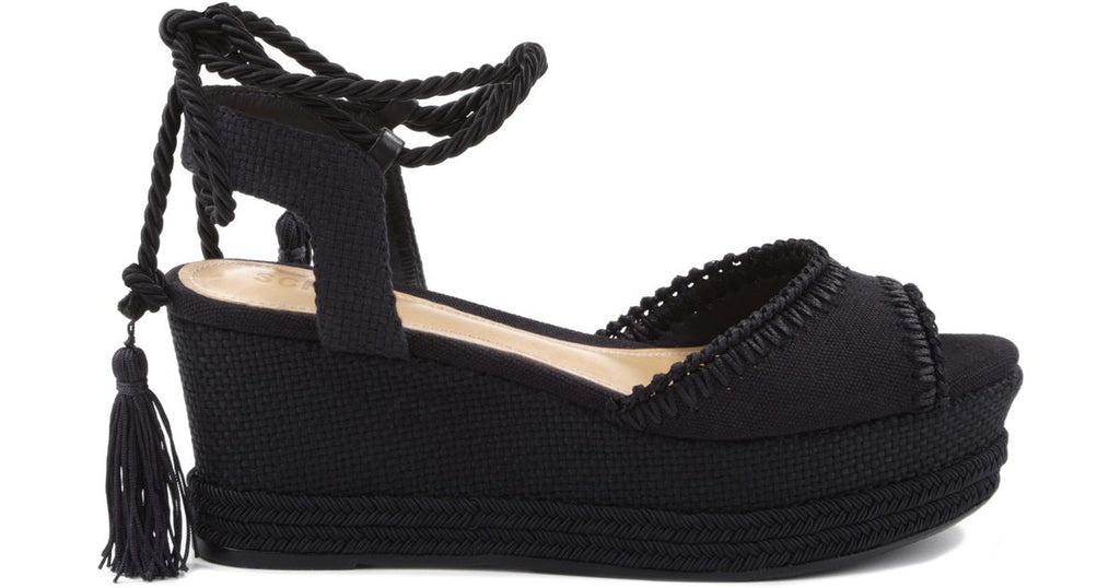 Schutz mabel black canvas platform wedge tie up pumps espadrille sandal