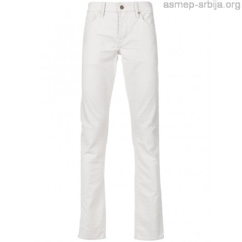TOM FORD Men's Skinny Fit Classic Fitted Trousers WHITE BNJ20TFD001