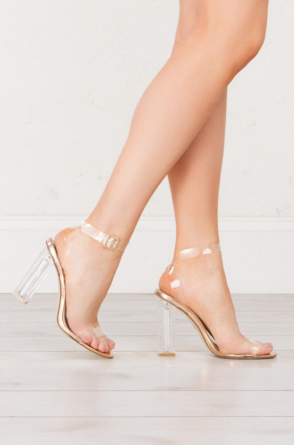 Cape Robbin Maria-2 Clear Strappy Rose Gold Block High Heel Open Toe Sandal