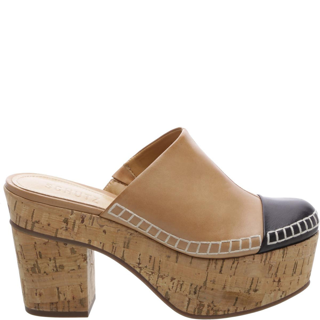 Schutz Olympia Natural Nude Black Mule Cork Wedge Pumps Cap Toe Slip On