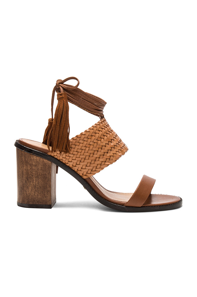 Schutz Luky Saddle Brown Woven Leather Chunky City Heel Wrap Tie Up Sandals