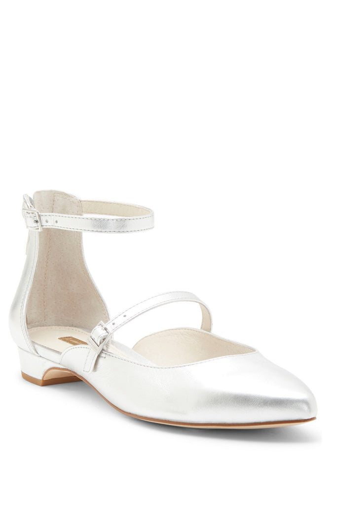 Louise et Cie Claire Strap Breezy Open Flat Sterling Silver Pointed Toe Flats