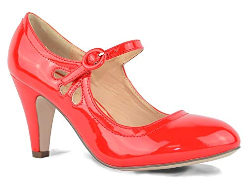 Chase & Chloe Kimmy-21 Red Patent Pierced Mid Heel Mary Jane Pumps