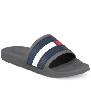Tommy Hilfiger Elwood Slide Beach Grey Slip On Sandal