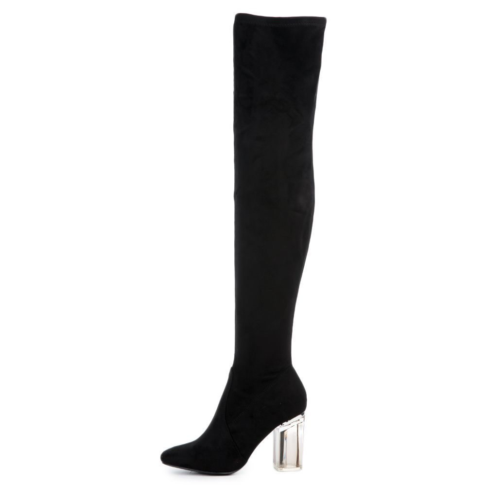 Cape Robbin Fay-2 Over The Knee Stretch Glass Heel Thigh High Boots (10, Black Suede)