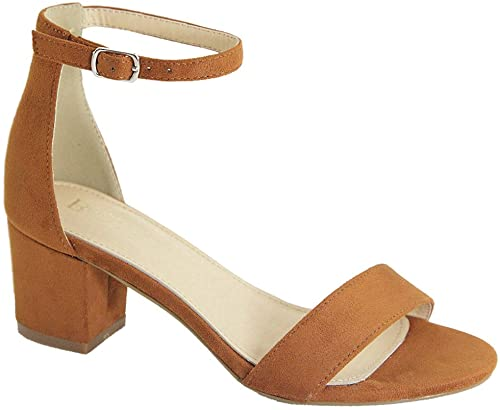 Bella Marie Women's Jean-08 Tan Suede Strappy Open Toe Block Heel Sandal
