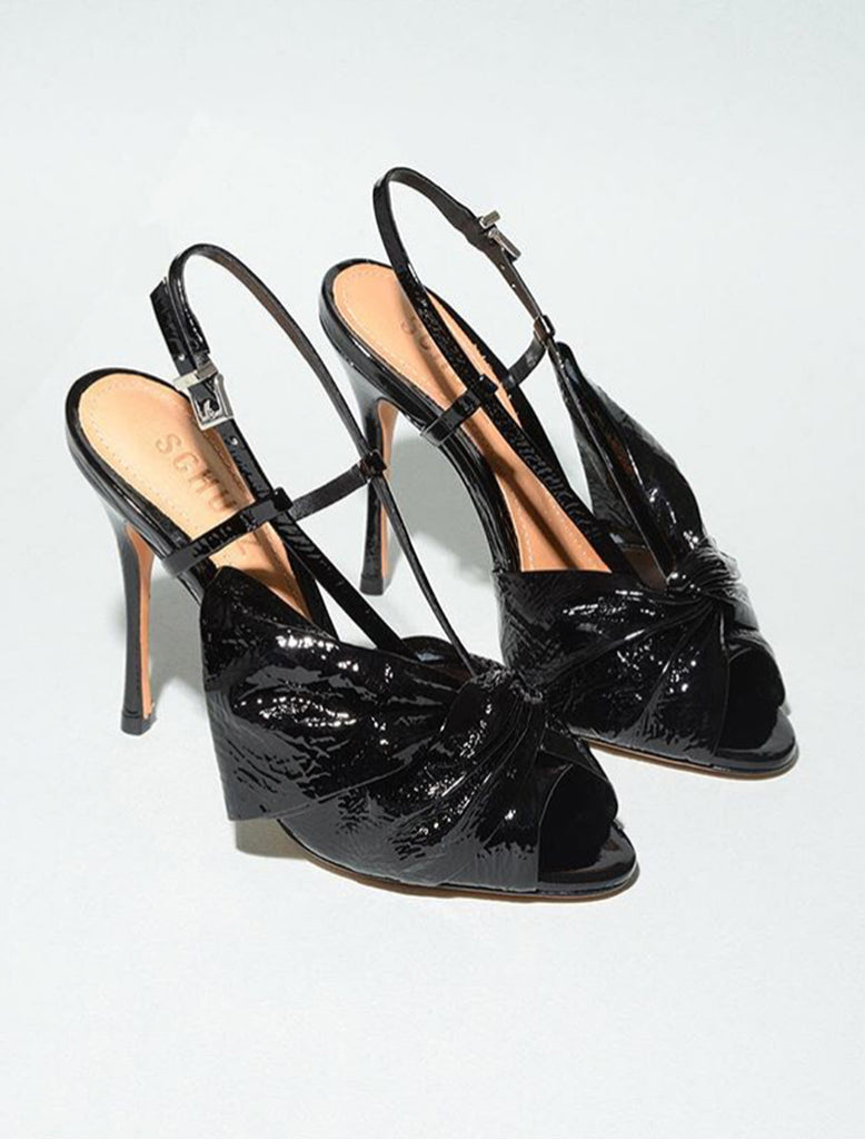 Schutz Allina Black Leather Vamp Stiletto Heeled Sandals