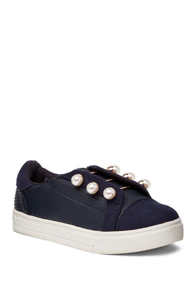 Lust For Life Torrent Navy Embossed Leather & Suede Pearl Lace Sneaker