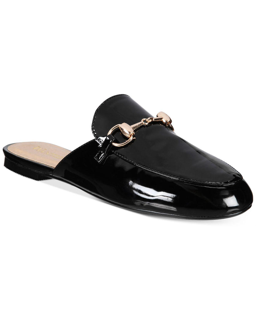 Wanted Bitman Black Patent Flat Slip On Mule Loafer