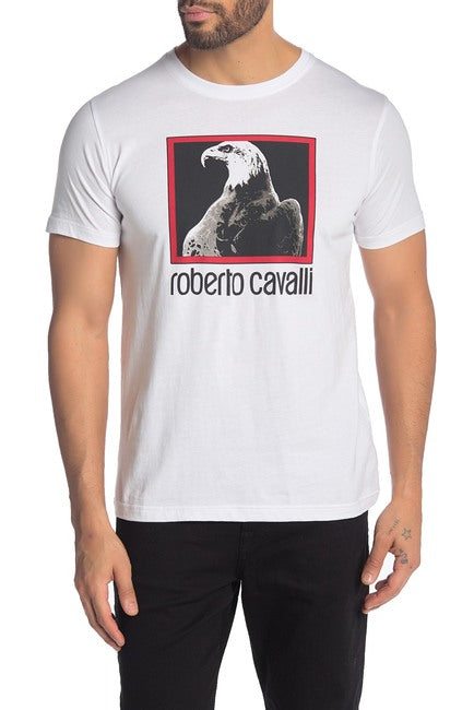 Roberto Cavalli Eagle Graphic Sleeve Cotton Logo T-Shirt White FST969A02700053