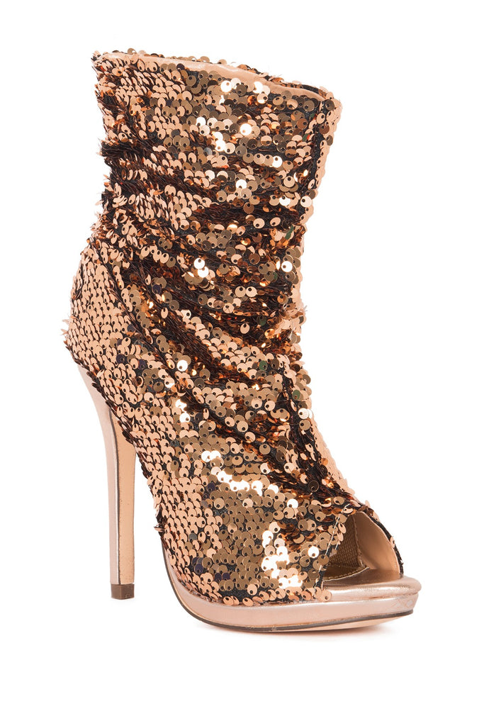 Lauren Lorraine Marlow Rose Gold Sequin Peep Toe High Heel Sexy Dress Bootie