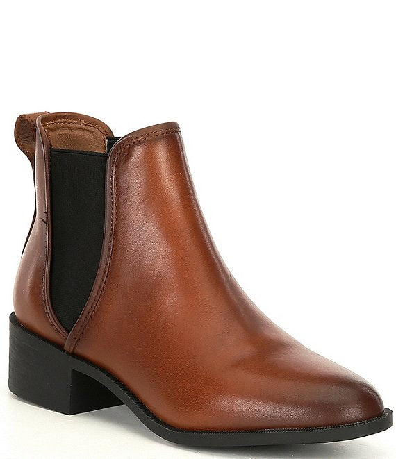 Steve Madden Dares Chelsea Boot Cognac Brown Leather Gore Ankle Booties