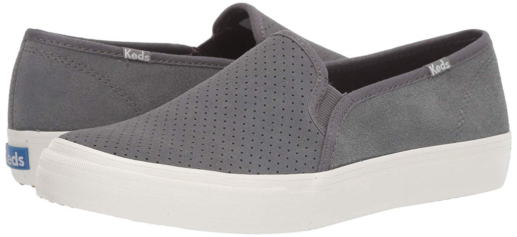 Keds Double Decker PERF Suede Sneaker Grey Slip On Fashion Tennis Shoes
